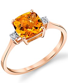 Citrine (1-1/2 ct. t.w.) & Diamond (1/20 ct. t.w.) Ring in 14k Rose Gold