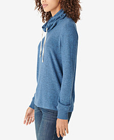 Lucky Brand Solid Tunnel-Neck Drawstring Top