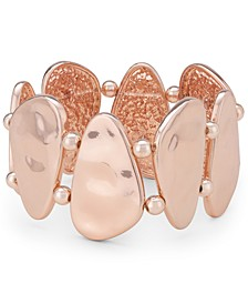 Rose Gold-Tone Hammered Shell Stretch Bracelet, Created for Macy's