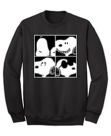 Men's Snoopy 4 Squared Faces Crew Fleece Sweatshirt