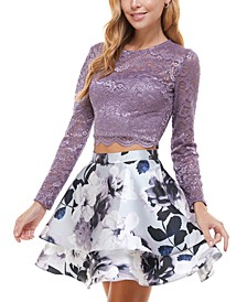 Juniors' Glitter-Lace Top & Floral Skirt