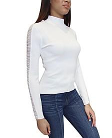 Juniors' Mesh-Trim Mock-Neck Sweater