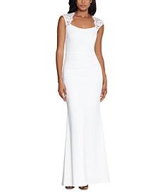 Lace-Trim Cutout-Back Gown