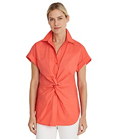 Twisted-Knot Cotton-Blend Top