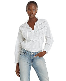 Pintucked Lace-Trimmed Top