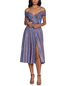 Glitter-Knit Off-The-Shoulder Dress