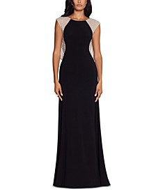 Caviar-Beaded Drape-Back Gown