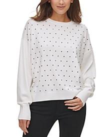 Embellished Dropped-Shoulder Sweater