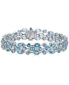 Blue Topaz Multirow Statement Bracelet (15 ct. t.w.) in Sterling Silver