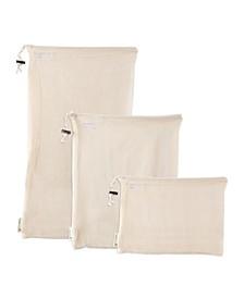Reusable Cotton Mesh Produce Bags, Set of 3