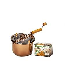 Organic Popcorn Copper Plated Whirley Pop Popcorn DIY Set