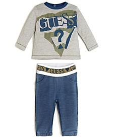Baby Boys Long Sleeve T-shirt & Knit Denim Jogger Set