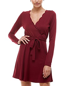 Juniors' Scalloped Surplice Dress