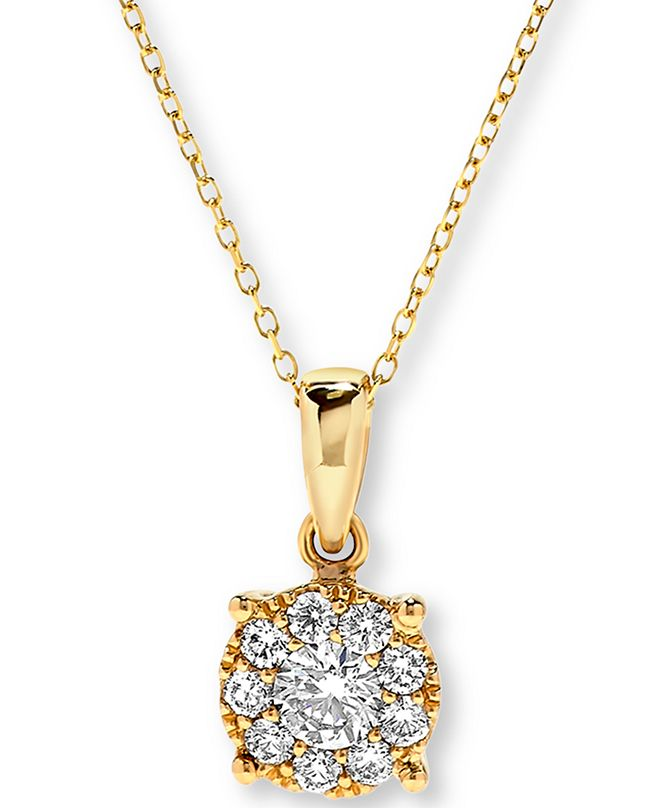 Macy's Diamond Halo Pendant Necklace (1/2 ct. t.w.) in 14k Gold