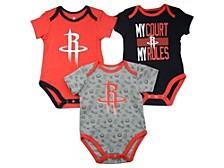 Baby 3-Pk. Houston Rockets Cotton Trifecta Bodysuits