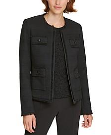 Tweed Fringe-Trim Jacket