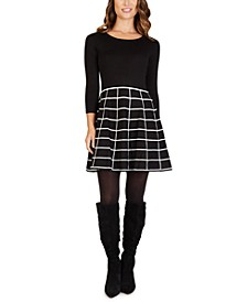Juniors' Fit & Flare Sweater Dress
