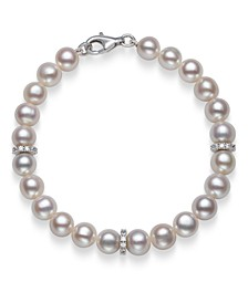 """Cultured Freshwater Pearl 7-8mm AA Quality and Cubic Zirconia Accent Bracelet in Sterling Silver, 7.5"""""""