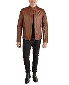 Men's Washed Leather Moto Jacket