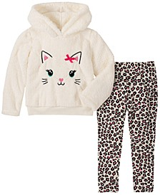 Little Girl 2-Piece Hooded Fleece Top with Animal Print Legging Set