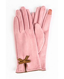 Women's Faux Suede Bow Jersey Touchscreen Glove
