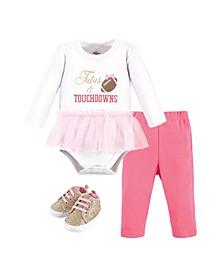 Baby Girls Cotton Bodysuit, Pant and Shoe Set