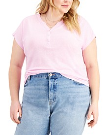 Plus Size Henley Top, Created for Macy's