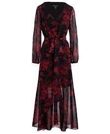 INC Printed Chiffon Faux-Wrap Maxi Dress, Created for Macy's