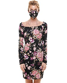 Juniors' Ribbed Bodycon Dress & Printed Face Mask