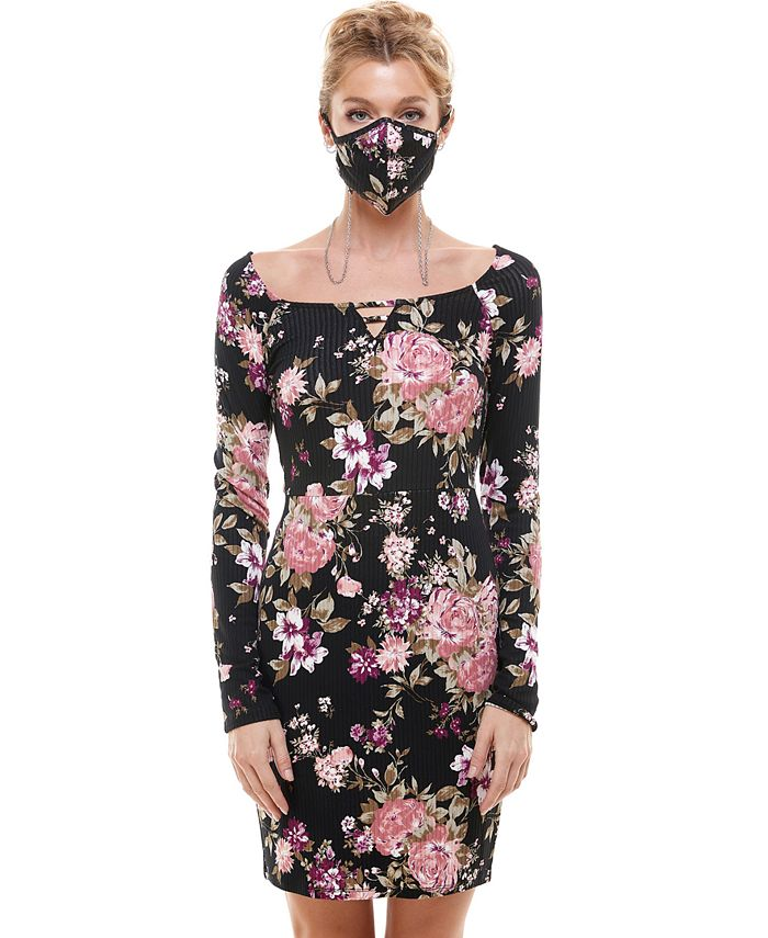 Planet Gold - Juniors' Ribbed Bodycon Dress & Printed Face Mask