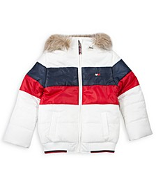 Baby Girls Colorblocked Puffer Coat with Removable Hood