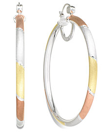 Simone I. Smith Platinum, 18k Rose Gold and 18k Gold over Sterling Silver Earrings, Extra-Large Tri-Color Hoop Earrings
