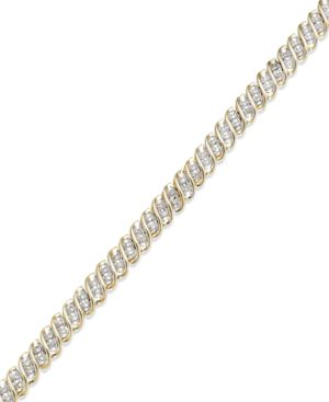 Diamond S-Link Bracelet in 10k Gold or White Gold (1/2 ct. t.w.) -  Macy's