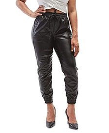 Juniors' Faux-Leather Jogger Pants