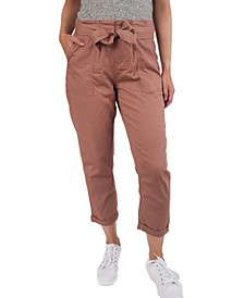 Juniors' Tie-Front Cuffed Utility Pants
