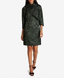 Jacquard 3/4-Sleeve Wrap Jacket Dress Suit