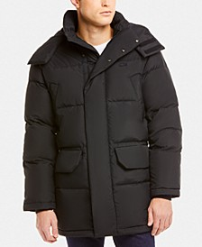 Men's Regular-Fit Quilted Down Coat with Removable Hood