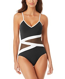 Mesh-Detail One-Piece Swimsuit