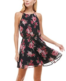 Juniors' Halter-Neck Floral Fit & Flare Dress