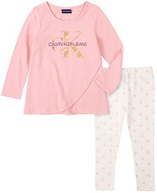 Little Girl Knit Tunic with CK Print Legging, 2 Piece Set