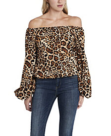 Women's Off Shoulder Animal Print Balloon Sleeve Blouse