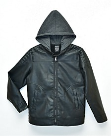 Big Boys Quinn Sherpa Lined Moto Jacket with Fleece Hood, Made For Macy's