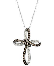 "Chocolate Diamond & Nude Diamond Cross 18"" Pendant Necklace (1-1/4 ct. t.w.) in 14k White Gold"