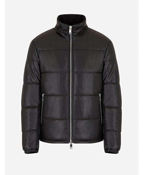 A|X Armani Exchange Leather Puffer Blouson Jacket
