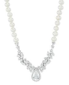 "Cultured Freshwater Pearl (5-6mm) Swarovski Zirconia 17"" Statement Necklace in Sterling Silver"