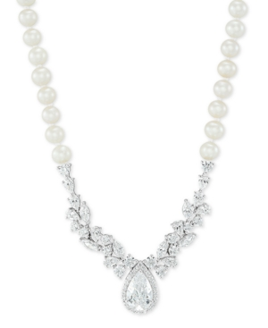 """Cultured Freshwater Pearl (5-6mm) Cubic Zirconia 17"""" Statement Necklace in Sterling Silver"""