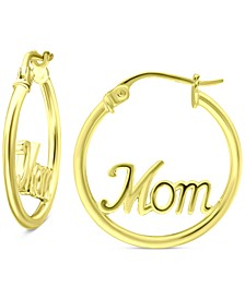 """Mom Small Hoop Earrings in 18k Gold-Plated Sterling Silver, 0.75"""", Created for Macy's"""