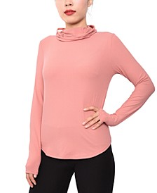 Juniors' Ribbed Long-Sleeve Mask Top