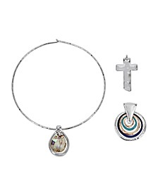 "Abalone Pendant Collar Necklace Set, 16.5"""