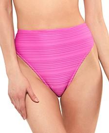 Ribbed High-Waist Bikini Bottoms